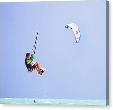 Freedom  Miami Beach Kitesurfing Canvas Print by Mr Bennett Kent