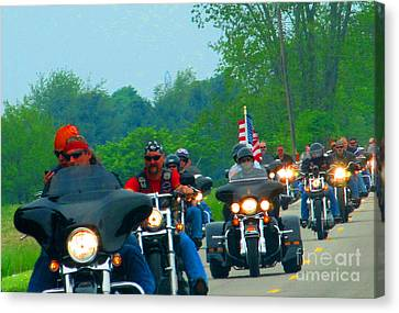 Freedom Riders Having So Much Fun Canvas Print by Tina M Wenger