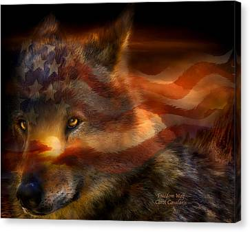 Freedom Wolf Canvas Print by Carol Cavalaris