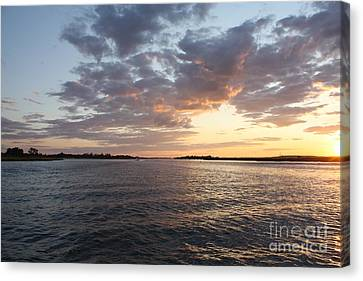 Reflection Of Sun In Clouds Canvas Print - Freeport Cloudy Summertime Sunset by John Telfer