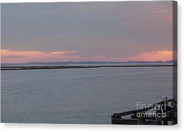 Freeport Winter Sunset At The Nautical Mile Canvas Print by John Telfer
