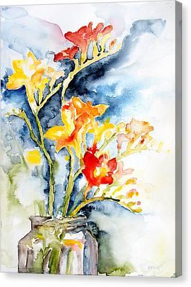Freesia In A Pickle Jar Canvas Print by Barbara Pommerenke