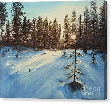 Canvas Print featuring the painting Freezing Forest by Martin Howard