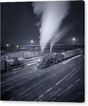 Freight Train About To Leave The Atchison Circa 1943 Canvas Print by Aged Pixel