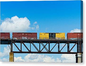 Freight Train Passing Over A Bridge Canvas Print