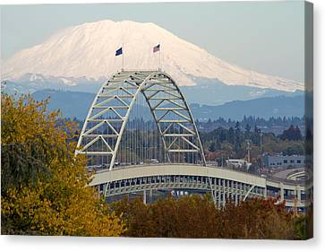Fremont Bridge And Mount Saint Helens Canvas Print