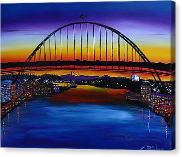 Fremont Bridge At Dusk 5 Canvas Print by Portland Art Creations