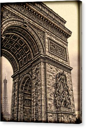 French - Arc De Triomphe And Eiffel Tower IIi Canvas Print by Lee Dos Santos