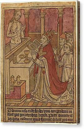 French 15th Century, The Mass Of Saint Gregory Recto Canvas Print by Quint Lox