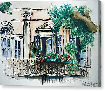 French Balcony Canvas Print by Helen J Pearson