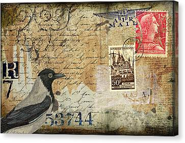 French Bird Postcard Canvas Print