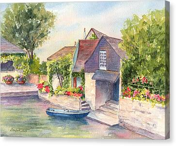 French Boathouse  Azay Le Rideau Canvas Print