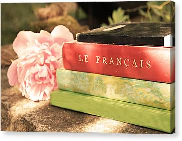 Canvas Print featuring the photograph French Books And Peony by Brooke T Ryan