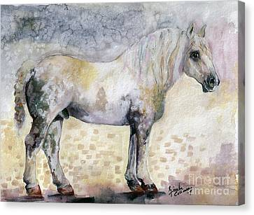 Canvas Print featuring the painting French Breed Percheron Stallion by Ginette Callaway