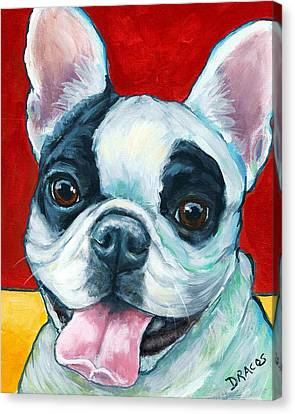 French Bulldog On Red Canvas Print by Dottie Dracos