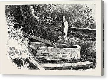 French Canadian Life, Wayside Watering Trough Canvas Print by Canadian School