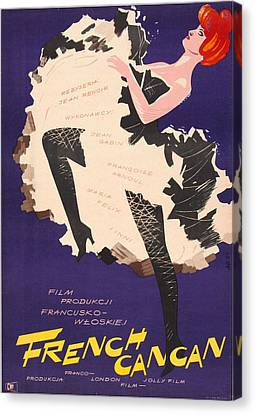 1950s Poster Art Canvas Print - French Cancan, Polish Poster, 1954 by Everett