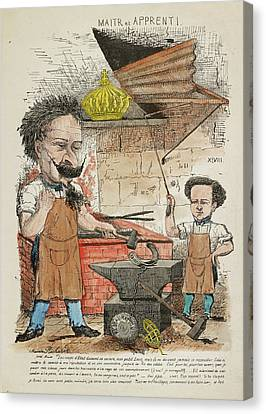 French Caricature - Maitr Et Apprenti Canvas Print by British Library