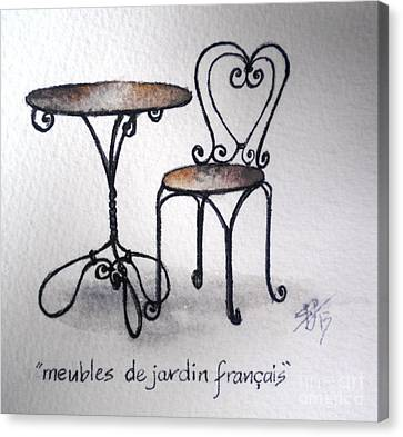 French Chair And Table Canvas Print