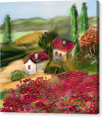 Red Roof Canvas Print - French Country Squared by Christine Fournier