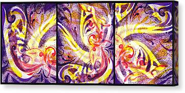 French Curve Abstract Movement Vii Happy Trio Canvas Print
