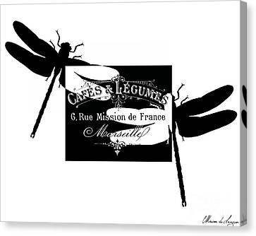 Typographic Canvas Print - French Dragonflies 2 by Marion De Lauzun