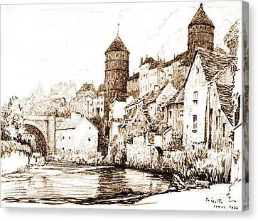 French Fortified Town 1922 Canvas Print by Padre Art