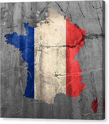 Old Canvas Print - French France Flag Country Outline Painted On Old Cracked Cement by Design Turnpike