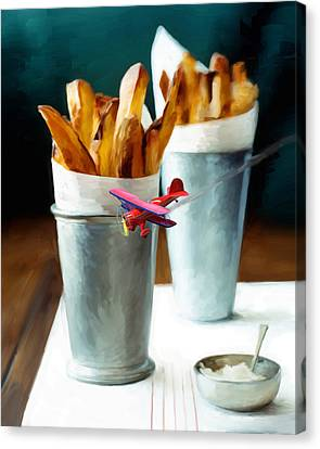 French Fries Fly-by Canvas Print by Snake Jagger