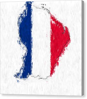 French Guiana Painted Flag Map Canvas Print by Antony McAulay