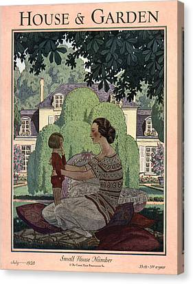 French Haute-bourgeois Domestic Scene Canvas Print by Pierre Brissaud