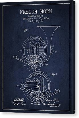 French Horn Patent From 1914 - Blue Canvas Print by Aged Pixel