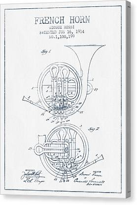 French Horn Patent From 1914 - Blue Ink Canvas Print by Aged Pixel