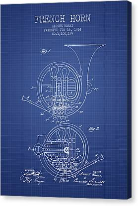 French Horn Patent From 1914 - Blueprint Canvas Print by Aged Pixel