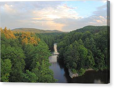 French King Bridge View Of Millers River Canvas Print by John Burk
