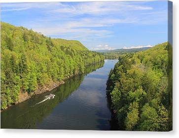 French King Gorge Connecticut River Spring Boater Canvas Print by John Burk
