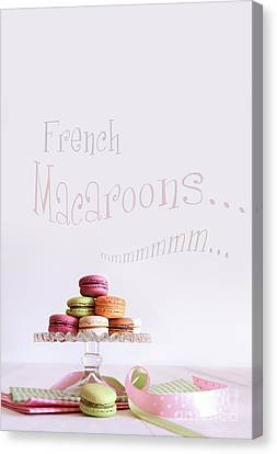 French Macaroons On Dessert Tray Canvas Print by Sandra Cunningham