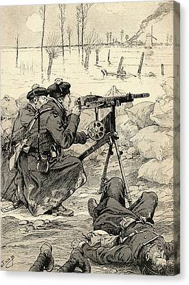 French Machine Gun Team At The Battle Of The Yser, Belgium, 1915 During World War One. From Agenda Canvas Print by Bridgeman Images