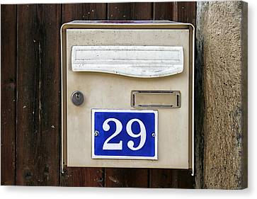 French Mailbox Number 29 Canvas Print by Georgia Fowler