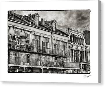 French Market View In Black And White Canvas Print by Brenda Bryant