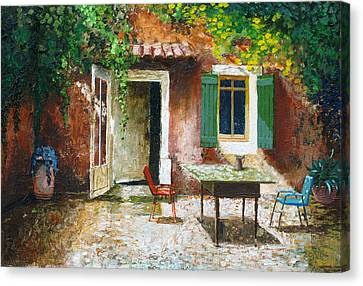 French Patio, 2006 Oil On Board Canvas Print