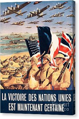 French Propaganda Poster Published In Algeria From World War II 1943 Canvas Print