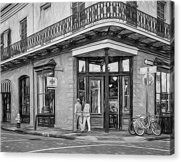 Wrought Iron Bicycle Canvas Print - French Quarter Art - Paint Bw by Steve Harrington