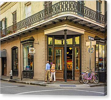 Wrought Iron Bicycle Canvas Print - French Quarter Art by Steve Harrington
