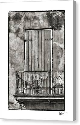 French Quarter Balcony In Black And White Canvas Print by Brenda Bryant