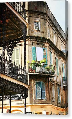 Canvas Print featuring the photograph French Quarter Morning by Heather Green