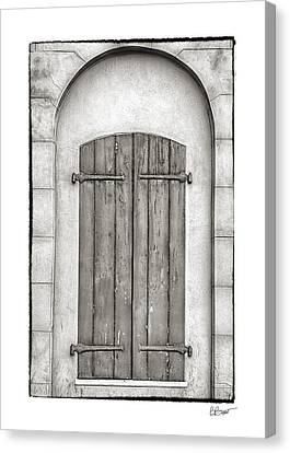 French Quarter Shutters In Black And White Canvas Print by Brenda Bryant
