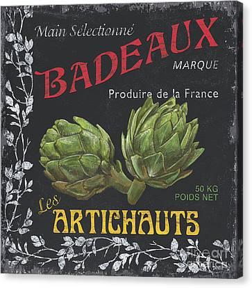 Labelled Canvas Print - French Veggie Labels 1 by Debbie DeWitt