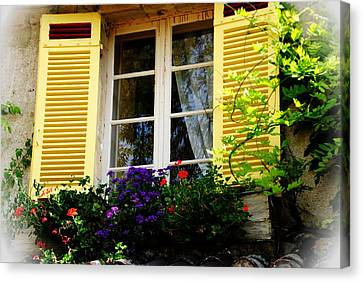 Canvas Print featuring the photograph French Window Dressing by Jacqueline M Lewis