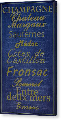 French Wines - 2 Champagne And Bordeaux Region Canvas Print
